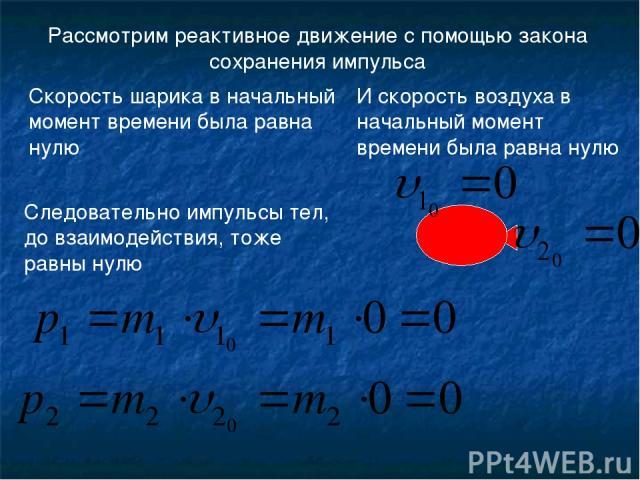 Рассмотрим реактивное движение с помощью закона сохранения импульса Следовательно импульсы тел, до взаимодействия, тоже равны нулю Скорость шарика в начальный момент времени была равна нулю И скорость воздуха в начальный момент времени была равна нулю