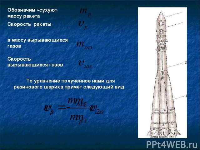 Обозначим «сухую» массу ракета Скорость ракеты а массу вырывающихся газов Скорость вырывающихся газов То уравнение полученное нами для резинового шарика примет следующий вид