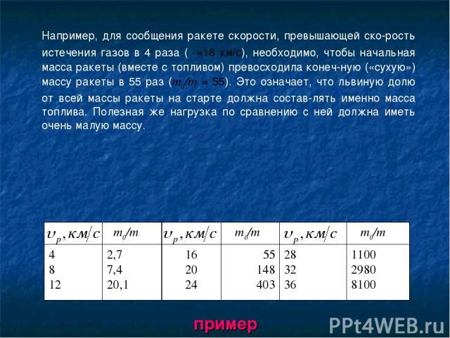 Например, для сообщения ракете скорости, превышающей ско рость истечения газов в 4 раза (υ=16 км/с), необходимо, чтобы начальная масса ракеты (вместе с топливом) превосходила конеч ную («сухую») массу ракеты в 55 раз (т0/т = 55). Это означает, что л…