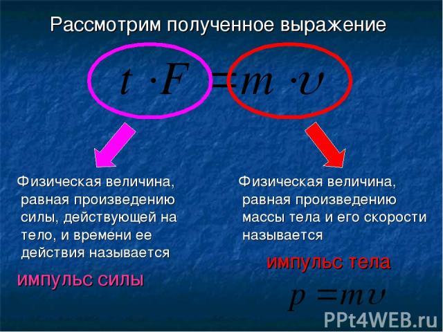 Физическая величина, равная произведению силы, действующей на тело, и времени ее действия называется Физическая величина, равная произведению массы тела и его скорости называется импульс силы импульс тела Рассмотрим полученное выражение
