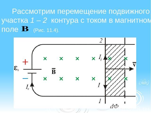 Рассмотрим перемещение подвижного участка 1 – 2 контура с током в магнитном поле (Рис. 11.4).