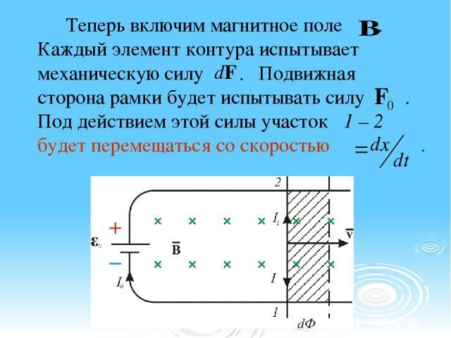Теперь включим магнитное поле . Каждый элемент контура испытывает механическую силу . Подвижная сторона рамки будет испытывать силу . Под действием этой силы участок 1 – 2 будет перемещаться со скоростью .