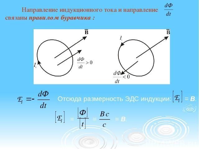 Направление индукционного тока и направление связаны правилом буравчика : Отсюда размерность ЭДС индукции: = = = B. = B.