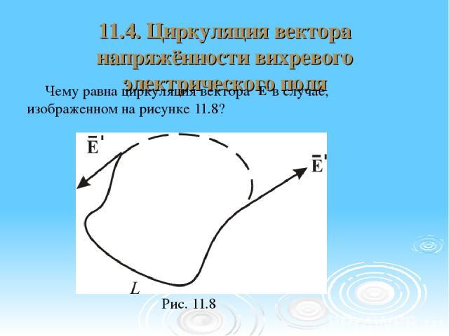 11.4. Циркуляция вектора напряжённости вихревого электрического поля Чему равна циркуляция вектора в случае, изображенном на рисунке 11.8? Рис. 11.8