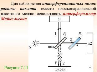 Для наблюдения интерференционных полос равного наклона вместо плоскопараллельной