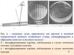 Рис. а - световые лучи, отражаясь от верхней и нижней поверхностей тонкого возду