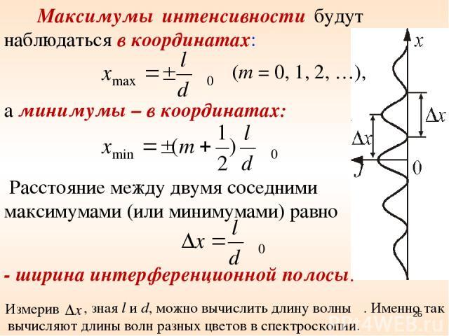 Расстояние между двумя соседними максимумами (или минимумами) равно Максимумы интенсивности будут наблюдаться в координатах: (m = 0, 1, 2, …), а минимумы – в координатах: - ширина интерференционной полосы. Измерив , зная l и d, можно вычислить длину…