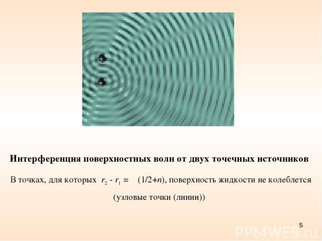 * Интерференция поверхностных волн от двух точечных источников В точках, для которых r2 - r1 = λ (1/2+n), поверхность жидкости не колеблется (узловые точки (линии))