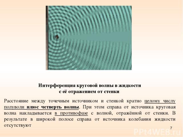* Интерференция круговой волны в жидкости с её отражением от стенки Расстояние между точечным источником и стенкой кратно целому числу полуволн плюс четверть волны. При этом справа от источника круговая волна накладывается в противофазе с волной, от…