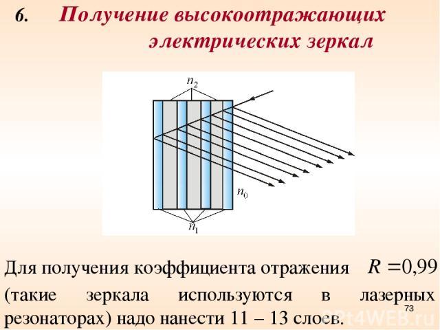 6. Получение высокоотражающих электрических зеркал Для получения коэффициента отражения (такие зеркала используются в лазерных резонаторах) надо нанести 11 – 13 слоев. *
