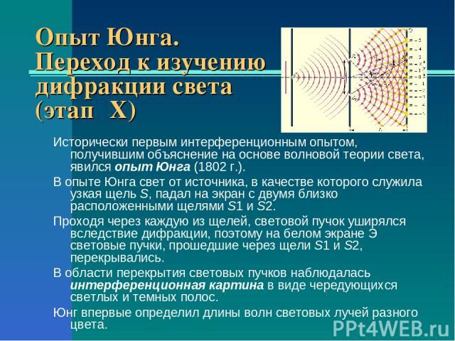 Опыт Юнга. Переход к изучению дифракции света (этап ΙX) Исторически первым интерференционным опытом, получившим объяснение на основе волновой теории света, явился опыт Юнга (1802г.). В опыте Юнга свет от источника, в качестве которого служила узкая…