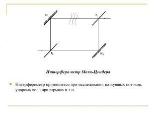 Интерферометр Маха-Цендера Интерферометр применяется при исследовании воздушных