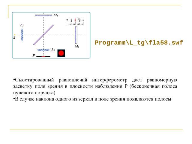 Programm\L_tg\fla58.swf Съюстированный равноплечий интерферометр дает равномерную засветку поля зрения в плоскости наблюдения Р (бесконечная полоса нулевого порядка) В случае наклона одного из зеркал в поле зрения появляются полосы
