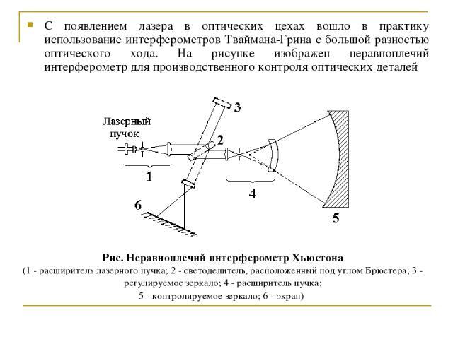 С появлением лазера в оптических цехах вошло в практику использование интерферометров Тваймана-Грина с большой разностью оптического хода. На рисунке изображен неравноплечий интерферометр для производственного контроля оптических деталей Рис. Неравн…