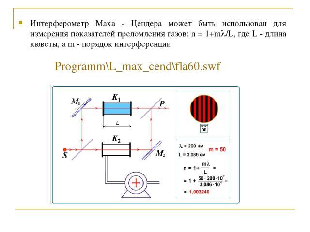 Интерферометр Маха - Цендера может быть использован для измерения показателей преломления газов: n = 1+ml/L, где L - длина кюветы, а m - порядок интерференции Programm\L_max_cend\fla60.swf