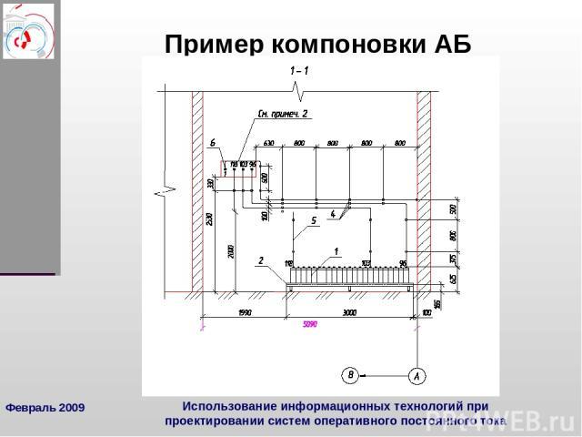 Февраль 2009 Использование информационных технологий при проектировании систем оперативного постоянного тока Пример компоновки АБ Использование информационных технологий при проектировании систем оперативного постоянного тока