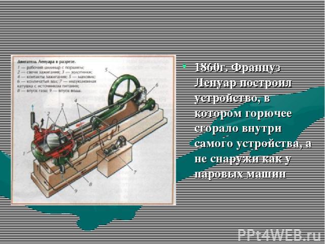 1860г. Француз Ленуар построил устройство, в котором горючее сгорало внутри самого устройства, а не снаружи как у паровых машин