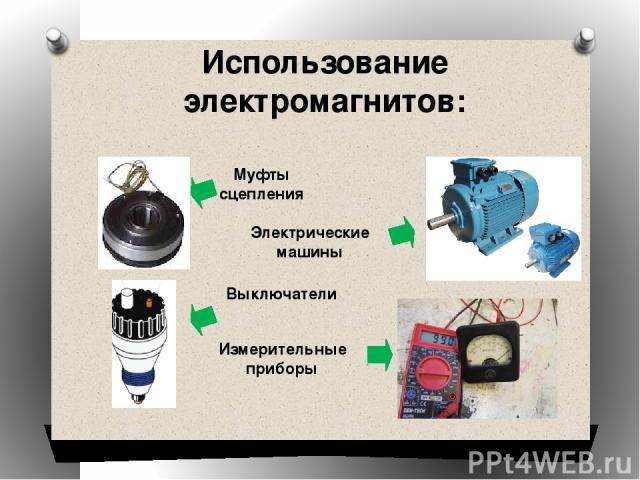 Использование электромагнитов: Муфты сцепления Выключатели Электрические машины Измерительные приборы