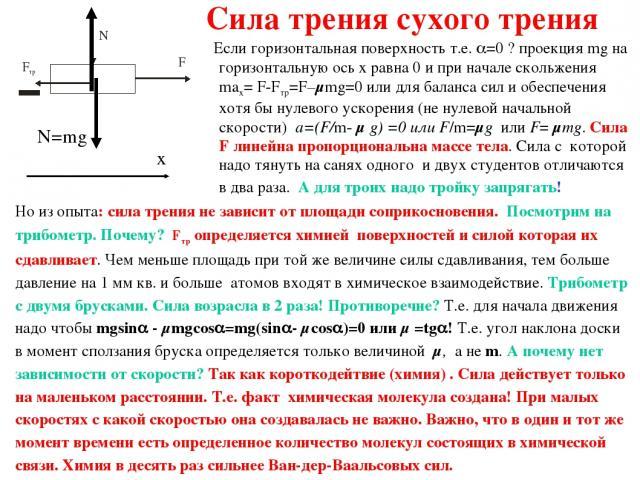 Сила трения сухого трения Если горизонтальная поверхность т.е. =0 ? проекция mg на горизонтальную ось x равна 0 и при начале скольжения max= F-Fтр=F–μmg=0 или для баланса сил и обеспечения хотя бы нулевого ускорения (не нулевой начальной скорости) a…