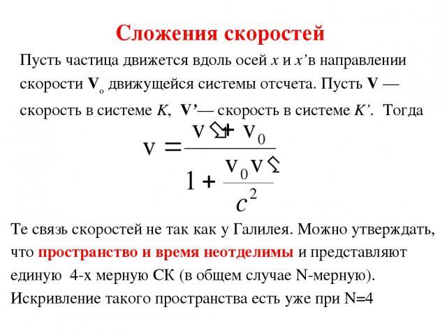 Сложения скоростей Пусть частица движется вдоль осей x и x'в направлении скорости Vo движущейся системы отсчета. Пусть V — скорость в системе K, V'— скорость в системе K'. Тогда Те связь скоростей не так как у Галилея. Можно утверждать, что простран…