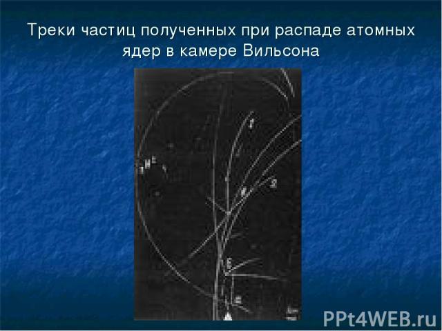 Треки частиц полученных при распаде атомных ядер в камере Вильсона