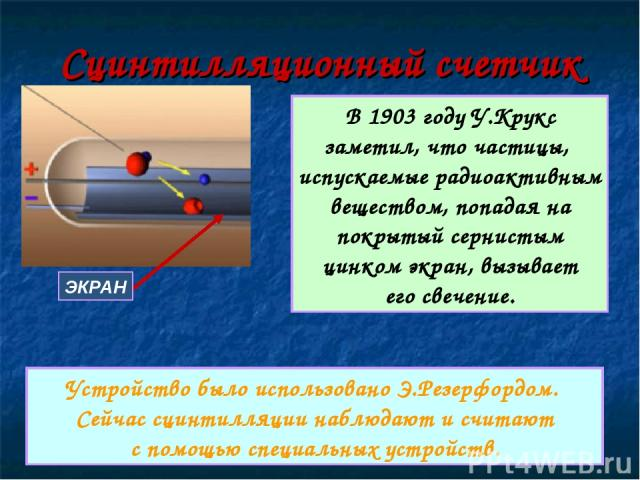 Сцинтилляционный счетчик ЭКРАН В 1903 году У.Крукс заметил, что частицы, испускаемые радиоактивным веществом, попадая на покрытый сернистым цинком экран, вызывает его свечение. Устройство было использовано Э.Резерфордом. Сейчас сцинтилляции наблюдаю…