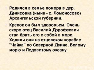 Родился в семье помора в дер. Денисовка (ныне - с. Ломоносово) Архангельской губ