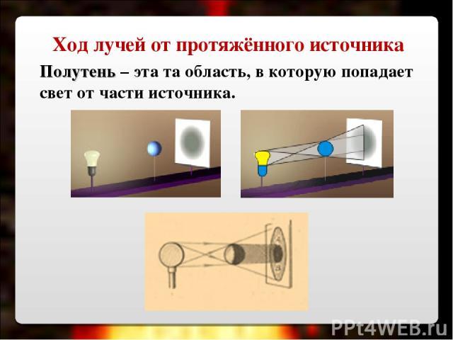 Полутень – эта та область, в которую попадает свет от части источника. Ход лучей от протяжённого источника