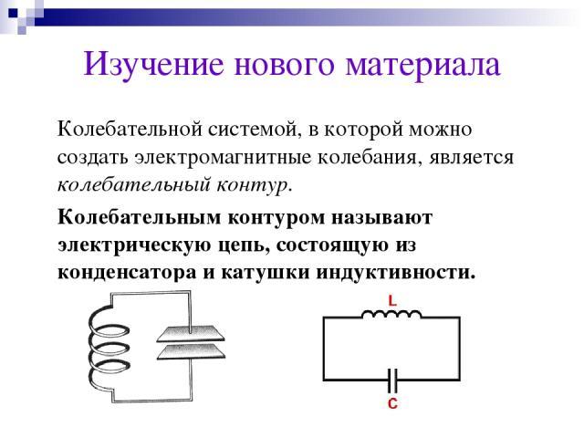 Изучение нового материала Колебательной системой, в которой можно создать электромагнитные колебания, является колебательный контур. Колебательным контуром называют электрическую цепь, состоящую из конденсатора и катушки индуктивности.