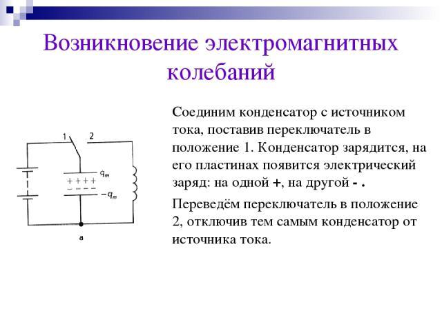 Возникновение электромагнитных колебаний Соединим конденсатор с источником тока, поставив переключатель в положение 1. Конденсатор зарядится, на его пластинах появится электрический заряд: на одной +, на другой - . Переведём переключатель в положени…