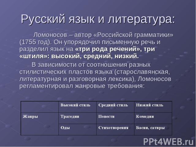 Русский язык и литература: Ломоносов – автор «Российской грамматики» (1755 год). Он упорядочил письменную речь и разделил язык на «три рода речений», три «штиля»: высокий, средний, низкий. В зависимости от соотношения разных стилистических пластов я…
