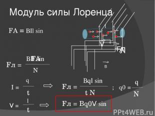 Модуль силы Лоренца FА = ВIl sinα F I В Л А ВIl sinα FА N Fл = V I = q Fл = t Вq