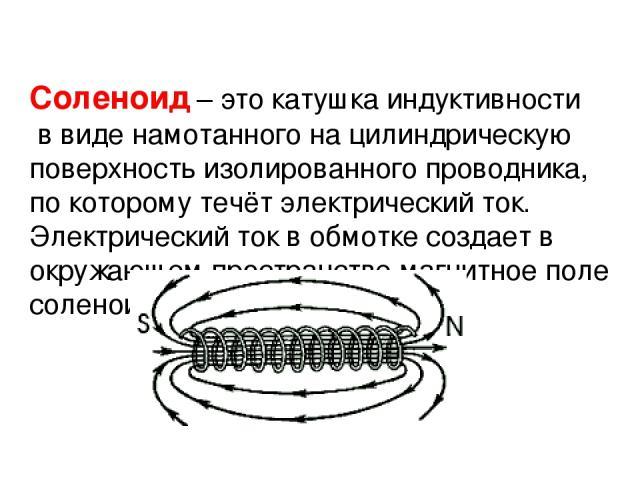 Соленоид– это катушка индуктивности в виде намотанного на цилиндрическую поверхность изолированного проводника, по которому течёт электрический ток. Электрический ток в обмотке создает в окружающем пространствемагнитное поле соленоида.
