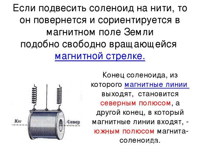 Если подвесить соленоид на нити, то он повернется исориентируется в магнитном поле Земли подобно свободно вращающейсямагнитной стрелке. Конец соленоида, из которогомагнитные линиивыходят, становится северным полюсом, а другой конец, в который м…