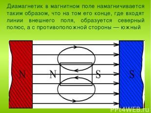 Диамагнетик в магнитном поле намагничивается таким образом, что на том его конце