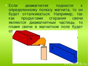 Если диамагнетик поднести к определенному полюсу магнита, то он будет отталкиват