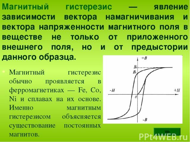 Магнитный гистерезис обычно проявляется в ферромагнетиках — Fe, Co, Ni и сплавах на их основе. Именно магнитным гистерезисом объясняется существование постоянных магнитов. Магнитный гистерезис — явление зависимости вектора намагничивания и вектора н…