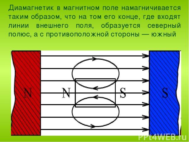 Диамагнетик в магнитном поле намагничивается таким образом, что на том его конце, где входят линии внешнего поля, образуется северный полюс, а с противоположной стороны — южный