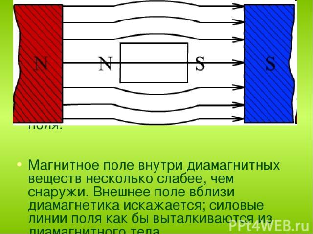 Диамагнетик не усиливает, а ослабляет внешнее магнитное поле. μ < 1 (например для золота μ = 0,999961) . Собственное магнитное поле, созданное диамагнетиком, направлено противоположно внешнему, и индукция внутри диамагнетика В меньше индукции В0 при…