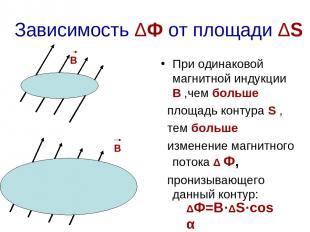 S Зависимость ΔФ от площади ΔS При одинаковой магнитной индукции В ,чем больше п