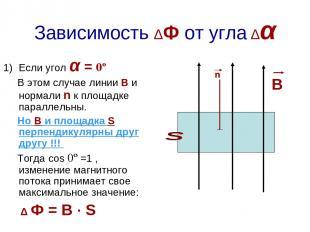 Зависимость ΔФ от угла Δα Если угол α = 0º В этом случае линии В и нормали n к п