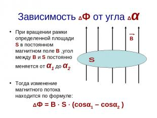Зависимость ΔФ от угла Δα При вращении рамки определенной площади S в постоянном