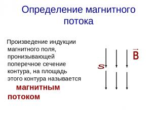 Определение магнитного потока Произведение индукции магнитного поля, пронизывающ