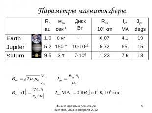Физика плазмы в солнечной системе, ИКИ, 8 февраля 2012 Параметры магнитосферы *