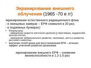 Экранирование внешнего облучения (1965 -70 е гг) экранирование естественного рад