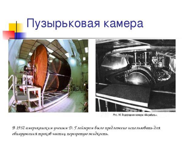 Пузырьковая камера В 1952 американским ученым Д. Глейзером было предложено использовать для обнаружения треков частиц перегретую жидкость.