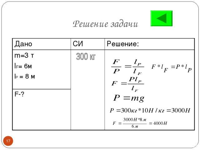 Решение задачи * Дано СИ Решение: m=3 т lF= 6м lP = 8 м F-?
