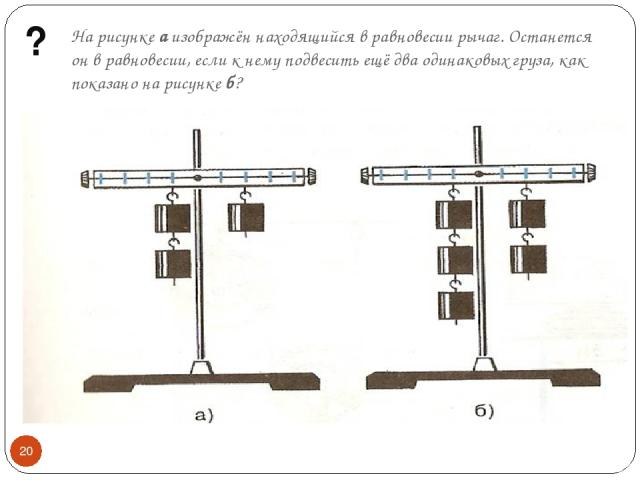 На рисунке а изображён находящийся в равновесии рычаг. Останется он в равновесии, если к нему подвесить ещё два одинаковых груза, как показано на рисунке б? ? *