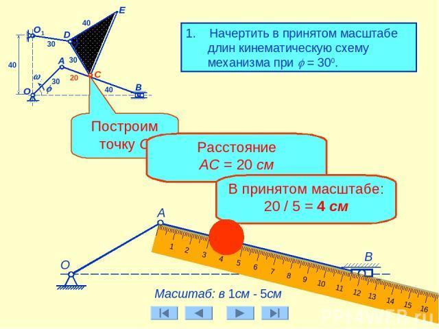 E 1. Начертить в принятом масштабе длин кинематическую схему механизма при j = 300. А B О C j w0 D А О1 30 30 30 40 20 40 40 Масштаб: в 1см - 5см Построим точку С Расстояние АС = 20 см В принятом масштабе: 20 / 5 = 4 см