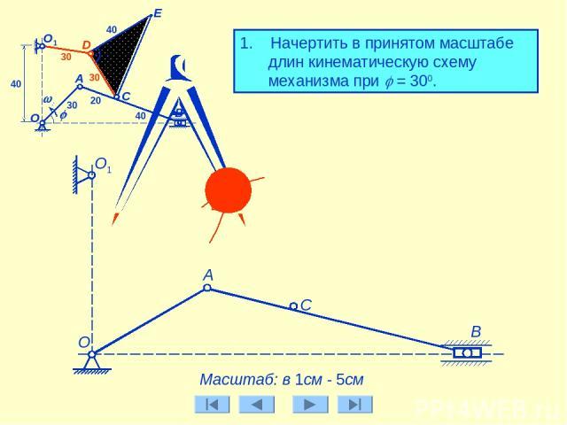 1. Начертить в принятом масштабе длин кинематическую схему механизма при j = 300. А Масштаб: в 1см - 5см О1